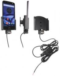 Support voiture Brodit Motorola Moto Z Force Droid installation fixe - Avec rotule, connectique Molex. Chargeur 2A. Réf 527912