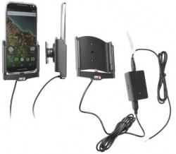 Support voiture  Brodit Motorola X Pure Edition installation fixe - Avec rotule, connectique Molex. Chargeur 2A.