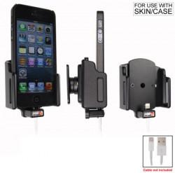 Support voiture Brodit Apple iPhone 5/5S/5C/5SE pour fixation cable - Utilisation avec câble Apple Lightning d'origine Support réglable. Pour appareil avec étui de dimensions: Larg: 59-63 mm, épaiss.: 6-10 mm. Réf 514435