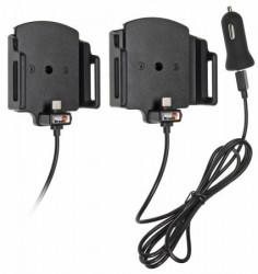 Support ajustable Brodit pour appareil de largeur 62-77 mm et d'épaisseur 6-10 mm - avec chargeur allume-cigare et connecteur micro USB-C. Réf 521840