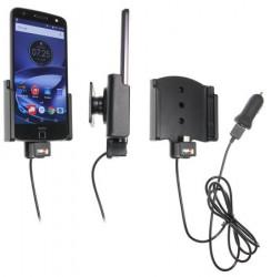 Support voiture  Brodit Motorola Moto Z Force Droid avec chargeur allume cigare - Avec rotule. Avec câble USB. Réf 521912