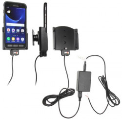 Support voiture Brodit Samsung Galaxy S7 Active installation fixe - Avec rotule, connectique Molex. Chargeur 2A. Réf 513903