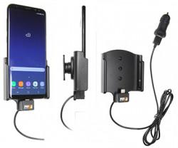 Support voiture Samsung Galaxy S8 Plus avec avec adaptateur allume-cigare et cable USB. Réf Brodit 521967