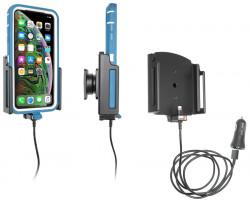 Support avec chargeur allume-cigare et câble USB iPhone XS Max/11 Pro/11 Pro Max avec étui (largeur 80-94 mm, épaisseur 9-13 mm) - Ref 721084