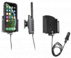 Support avec chargeur allume-cigare et câble USB iPhone XS Max/11 Pro Max avec étui (largeur 80-94 mm, épaisseur 2-10 mm) - Ref 721083