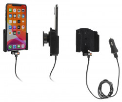 Support avec chargeur allume-cigare et câble USB iPhone 11 Pro Max sans étui avec revêtement peau de pêche - Ref 721164