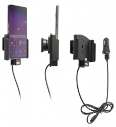 Support actif Samsung Galaxy S10+ avec câble USB et chargeur allume cigare - Ref 721116