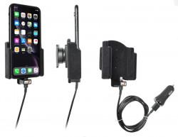 Support téléphone Apple iPhone XR avec revêtement «peau de pêche». Avec adaptateur allume-cigare et cable USB. Réf Brodit 721090