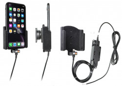 Support téléphone Apple iPhone XR avec revêtement «peau de pêche» pour installation fixe. Réf Brodit 727090