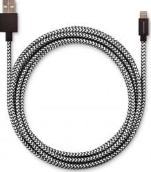 Cable lightning 2,50 mètres pour produit Apple. Réf USBEFAB250MIC-BLKWHT