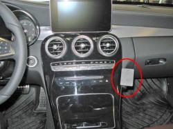 Fixation voiture Proclip  Brodit Mercedes Benz C-Class (180-320)  SEULEMENT pour les modèles avec panneau de bois (non représenté dans l'image). UNIQUEMENT pour changement de vitesse automatique. Réf 855058