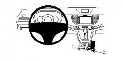 Fixation voiture Proclip  Brodit Honda CR-V  SEULEMENT pour les modèles avec prise de courant entre les boutons de chaleur de siège. PAS pour les modèles avec haut-parleur sur le côté de la console. Réf 834771