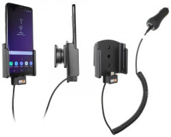 Support Samsung Galaxy S9 avec chargeur allume-cigare. Réf Brodit 712038