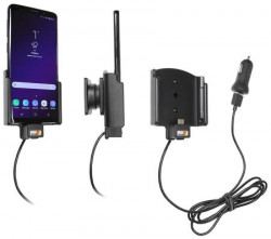 Support Samsung Galaxy S9 avec adaptateur allume-cigare et cable USB. Réf Brodit 721038