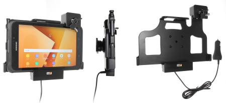 Support tablette Samsung Galaxy Active 2. SM-T390/SM-T395 verrouillé à clé - avec chargeur allume-cigare. Réf Brodit 735224