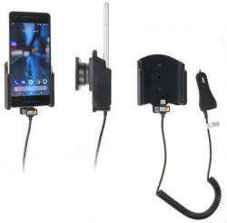 Support téléphone Google Pixel 2 avec chargeur allume-cigare. Réf Brodit 712014