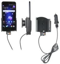 Support téléphone HTC U11 avec adaptateur allume-cigare et cable USB. Réf Brodit 721012
