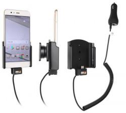 Support téléphone Huawei P10 Plus avec chargeur allume-cigare. Réf Brodit 712031