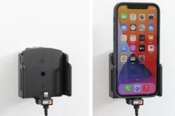 Support Apple iPhone 12 avec étui avec adaptateur allume-cigare et câble USB. Réf Brodit 721237