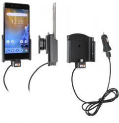 Support téléphone Nokia 8 avec adaptateur allume-cigare et cable USB. Réf Brodit 721030