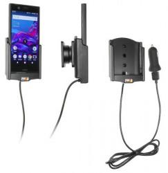 Support téléphone Sony Xperia XZ1 Compact avec adaptateur allume-cigare et cable USB. Réf Brodit 721007