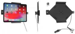 Support Apple iPad Pro 12.9 2020 (A2069, A2232, A2229) avec chargeur allume-cigare avec verrouillage à clé. Réf Brodit 752095