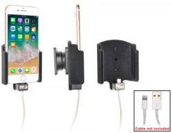 Support téléphone Apple iPhone 8 avec revêtement «peau de pêche». Pour utilisation avec le cable lightning d'origine. Réf Brodit 714009