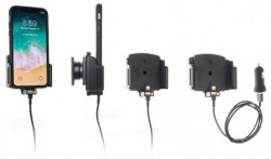 Support voiture iPhone X/XR/Xs/11 pour appareil avec étui de largeur 70-83 mm et d'épaisseur 2-10 mm - avec adaptateur allume-cigare et cable USB. Réf Brodit 721013