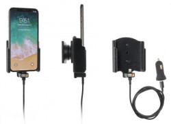 Support voiture Apple iPhone X/Xs avec adaptateur allume-cigare et cable USB. Réf Brodit 521997
