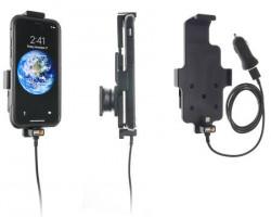 Suport iPhone X/Xs avec adaptateur allume-cigare et cable USB - pour appareil avec étui. Réf Brodit 521998