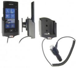 Support voiture  Brodit Samsung Focus Flash SGH-I677  avec chargeur allume cigare - Avec rotule orientable. Réf 512314