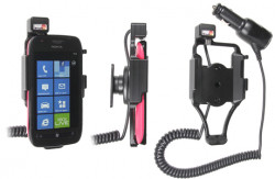Support voiture  Brodit Nokia Lumia 710  avec chargeur allume cigare - Avec rotule orientable. Réf 512359