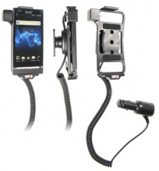 Support voiture  Brodit Sony Xperia P  avec chargeur allume cigare - Avec rotule orientable. Réf 512406