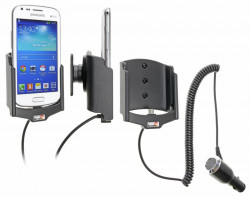Support voiture  Brodit Samsung Galaxy S Duos 2 S7582  avec chargeur allume cigare - Avec rotule orientable. Réf 512631
