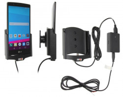 Support voiture  Brodit LG G4  installation fixe - Avec rotule, connectique Molex. Chargeur 2A. PAS pour la couverture arrière en cuir. Réf 513750