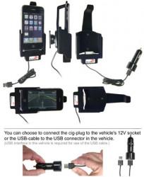 Support voiture  Brodit Apple iPhone 3G  avec chargeur allume cigare - Avec câble allume-cigare et un câble USB. Apple a approuvé câble. Pour une position verticale et horizontale plus sûr. Surface «peau de pèche». Réf 521023
