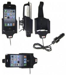 Support voiture  Brodit Apple iPhone 4  avec chargeur allume cigare - Avec rotule. Avec câble USB. Chargeur approuvé par Apple. Pour une position verticale et horizontale plus sûr. Surface «peau de pèche». Réf 521170
