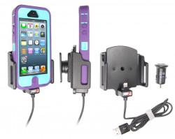 Support voiture Brodit Apple iPhone 5 avec chargeur allume cigare - Avec rotule. Avec câble USB. Chargeur approuvé par Apple. Support réglable. Pour appareil avec étui de dimensions: Larg: 62-77 mm, épaiss.: 9-13 mm. Réf 521504