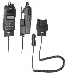 Support voiture  Brodit ICOM IC-F1000  avec chargeur allume cigare - Conception mince avec chargeur intégré dans le support. Pour une utilisation avec des batteries Li-ion ou Li-Poly. Réf 530677
