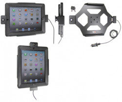 Support voiture  Brodit Apple iPad New (3rd Gen)  antivol - Support actif avec cig-plug et le câble USB. Avec rotule. 2 clefs. Pour  étui Otterbox Defender (non livré). Réf 535395