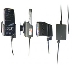 Support voiture  Brodit Nokia E75  installation fixe - Avec rotule, connectique Molex. Chargeur 2A. Pour un montant position fermée. Réf 513009