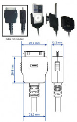 Support voiture  Brodit Apple iPod 3rd Generation 10 GB  pour fixation cable - Pour câble après-marché. Avec rotule. Avec revêtement &quot