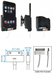 Support voiture  Brodit Apple iPod Touch  pour fixation cable - Pour origine Apple Câble (court). Avec rotule. Avec revêtement &quot