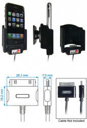 Support voiture  Brodit Apple iPhone 2G  pour fixation cable - Pour câble Griffin PowerJolt. Surface &quot