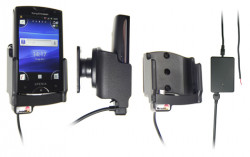 Support voiture  Brodit Sony Ericsson Xperia Mini  installation fixe - Avec rotule, connectique Molex. Chargeur 2A. Réf 513282