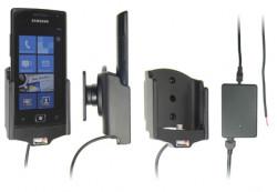 Support voiture  Brodit Samsung Focus Flash SGH-I677  installation fixe - Avec rotule, connectique Molex. Chargeur 2A. Réf 513314