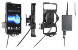 Support voiture  Brodit Sony Xperia Acro S  installation fixe - Avec rotule, connectique Molex. Chargeur 2A. Réf 513424