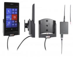 Support voiture  Brodit Nokia Lumia 520  installation fixe - Avec rotule, connectique Molex. Chargeur 2A. Réf 513542