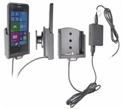 Support voiture  Brodit Nokia Lumia 630  installation fixe - Avec rotule, connectique Molex. Chargeur 2A. Réf 513643