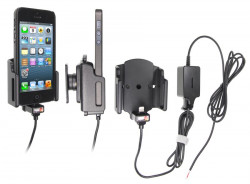 Support voiture  Brodit Apple iPhone 5  installation fixe - Avec rotule. Support réglable. Pour appareil avec étui de dimensions: Larg: 59-63 mm, épaiss.: 6-10 mm. Chargeur approuvé par Apple. Réf 527503